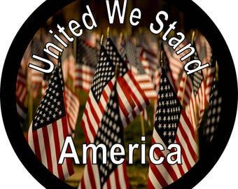 United We Stand American Flag Spare Tire Cover Jeep Wrangler Rubicon Liberty RV Trailer