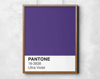 Ultra Violet Pantone, Printable artPantone printable wall art, 2018 colour of the year, Ultra Violet, colour swatch, printable art