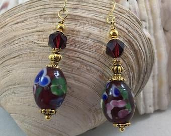 Victorian Inspired Czech Lampwork Glass ad Czech Crystal Drop/Dangle Earrings
