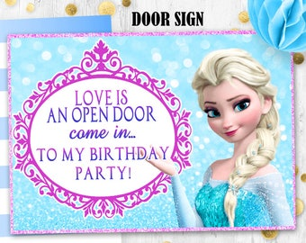 Elsa Door sign Frozen birthday Glitter door sign Printable digital door sign