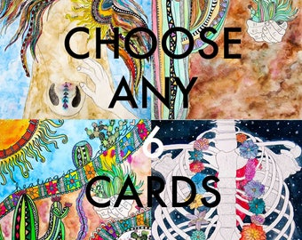 Bundle Cards/6 pack Card Set/Choose Any 6 Greeting Cards/Assorted Greeting Cards/Mixed Set Of Cards/Bulk Cards/Greeting Card Set/Blank Cards