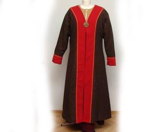 Flap skirt, coat, Middle Ages, Viking, Reenact, wool, diamond twill, Linen, Gr. m-L