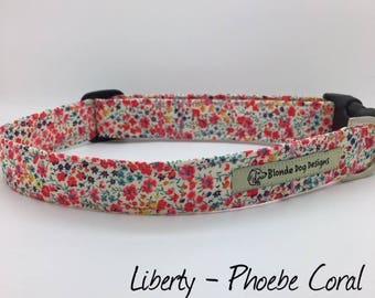 Liberty Dog Collar, or, Liberty Dog Lead, Liberty London, Phoebe Coral, Floral Dog Collar, Floral Dog Lead, Dog Collar UK