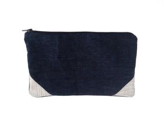 Fabric jeans and leather case