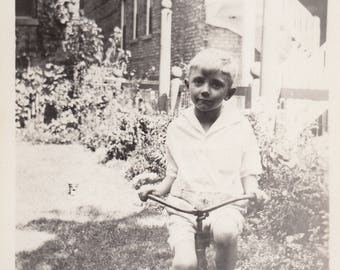 Vintage Photo Cute Young Boy Tricycle Toy Antique Found Snapshot Photopgraphy Black & White Ephemera Old Paper