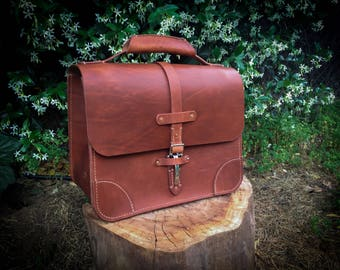Leather Briefcase - Extra Large | Hand Oiled Vegetable Tanned Leather | Handcrafted |  USA Made | Made To Order