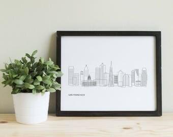 11x14 San Francisco Minimalist Skyline Art Print