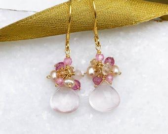 Rose Quartz Drop Earrings | Pink Drop Earrings | Gold Drop Earrings | Gold Gemstone Earrings | Cluster Earrings | Gift For Her