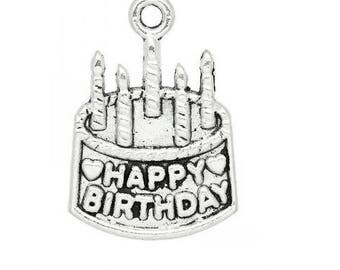 SET of 10 happy birthday (C52) silver candle birthday cake pendant charms