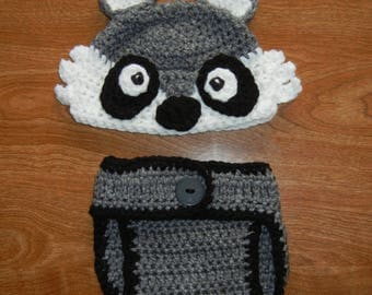 Crochet newborn Racoon diaper cover set; photo prop: woodland animals