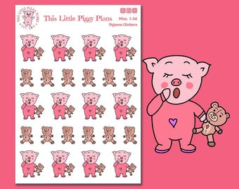 Pajama Oinkers - Pajamas Planner Stickers - Bedtime Stickers - So Tired - Sleepy - Exhausted - Teddy Bear Stickers - Nighttime -[Misc. 1-56]