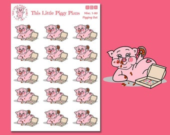 Oinkers is Pigging Out - Pigging Out Planner Stickers - Junk Food Stickers - Cheat Meal - Donuts  - Overate - Food Coma - [Misc. 1-80]