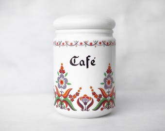 Vintage70's / pot made in Italy-BORMIOLI milk glass / kitchen / coffee or other foods / multicolor floral pattern / airtight jar