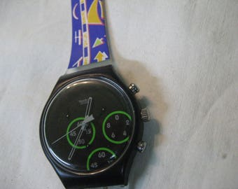 S 23g Authentic SWATCH Swiss Wrist WATCH CHRONOGRAPH A G 1996