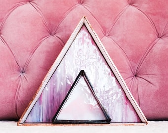 Stained Glass Triangle Organizer, Home Decor, Large