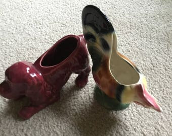"""Pair Of Vintage PotteryPlanters, ROYAL COPLEY Rooster and  """"USA"""" Puppy"""