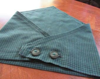 Large green and black checkered dog bandana