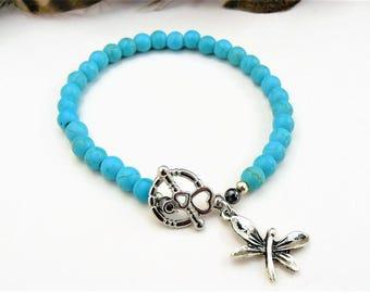 Butterfly Charm Bracelet, Butterfly Charm, Butterfly Jewelry, Beaded Bracelet, Turquoise Bracelet, Silver Butterfly, Gemstone Bracelet, Boho