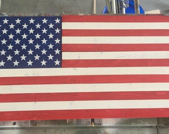 Handmade wooden American flags