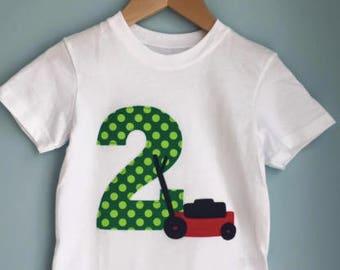 Lawn mower 2nd birthday shirt.  Push mower birthday shirt. Lawn party. Second, third, any age. Grass, lawn, riding mower, push mower