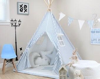 Striped Weathered Blue teepee kids teepee tent childrens teepee teepee play tents & Pink Stars Teepee pink teepee pink teepee tent kids pink