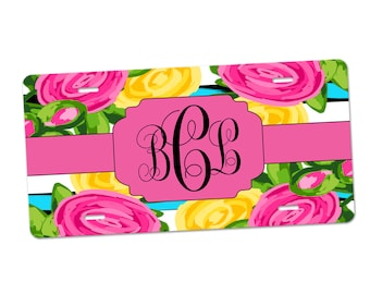 Personalized Car Tag-Monogram Car Coasters-Car Accessories-Keychain Set-Monogram Keychain Set-Monogram Tag-Floral License Plate-Flower Tag