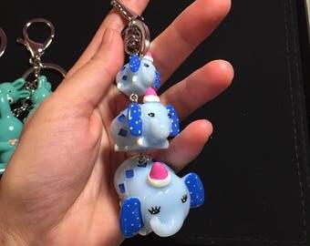 New cute 3 blue elephants keychain/bagcharm