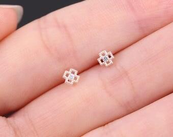 4mm Sterling Silver Earrings, Silver Cross Earrings, Silver Cross Studs, Sterling Silver Studs, Cubic Zirconia Earrings, Dainty CZ Earrings