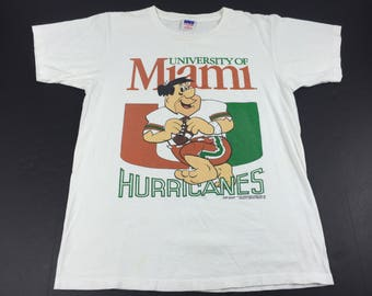 Vintage 1990 university of miami hurricanes fred flintstone t-shirt mens L
