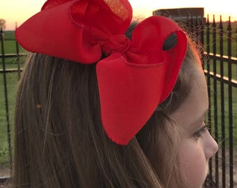 Red linen hair bow