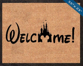 Welcome! Disney Castle Silhouette! Custom Disney DoorMats, Great for a Wedding, Anniversary, Birthdays, Housewarming, or Graduation Present!