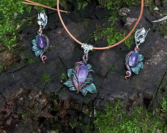 Jewelry set with ametist, Elvin jewelry, Jewelry with crystal, Eco Forest Jewelry, earring and pendant with ametist,