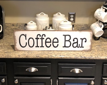 "Coffee bar sign, rustic coffee bar sign, coffee sign  26"" x 7.25"""