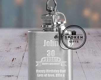 Personalised Age 1oz Hip Flask Key Ring Birthday Gift For 18th 21st 30th 40th 50th Mum Dad Son Uncle Brother Friend Accesories Accessory
