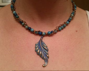 Blue copper leaf necklace and earrings