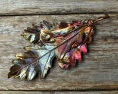Real oak leaf brooch. Copper brooch with real oak leaves. 7th anniversary gift for her. Eco friendly copper jewelry for women.