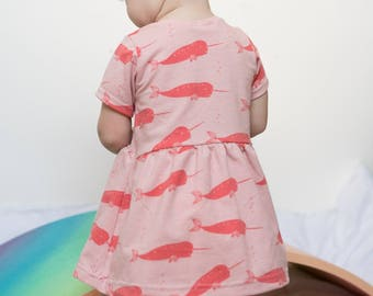 Pink Narwhals Baby & Toddler Jersey Dress- newborn- 6 years