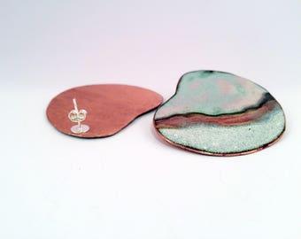 Earring handmade - Enameled, Sterling Silver, Unique, Jewellery