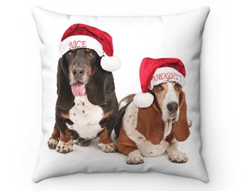 Christmas Throw Pillow  Basset Hound Dogs Wearing Naughty And Nice Santa Hats