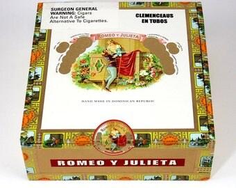 Romeo Y Julieta Cigar Box, Paper-covered Cigar Box, Purse Craft, Craft Box, Storage Box, Wood Cigar Box (CB-202)