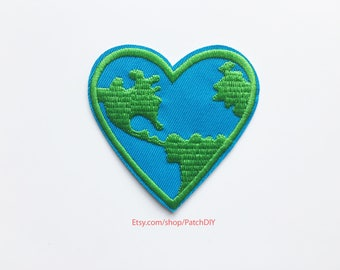 Patch Heart Earth iron on embroidered applique ecology environnement Eco-friendly organic nature protection traveler travel DIY bag denim