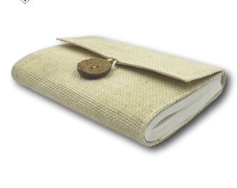 Beige Journal - Burlap Jute Cover with Inside Keepsake Pocket by MyPapermake