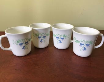 Set of Four Corning Flower Pattern Coffee Cups