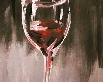 "Evening Glass Painting created with Acrylic Paint, Acrylic on Canvas, 9"" x 12"""