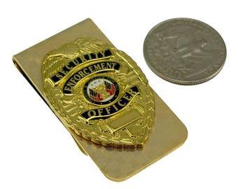 Security Enforcement Officer SEO mini Badge Money Clip Gold NEW