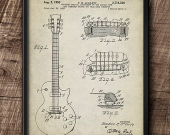 Guitar · Patent · Instant Download · 1955 · Vintage · Printable #153