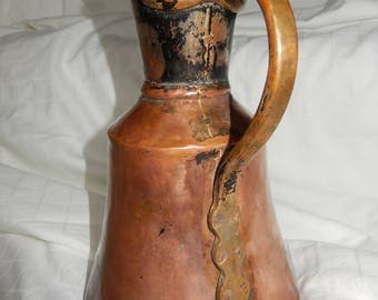 "VINTAGE 9"" Tall Hammered Copper & Brass Pitcher with Lid"