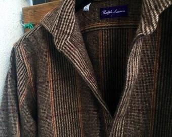 Ralph Lauren Purple Label pure cashmere super soft plaid button down shirt, jacket S-M