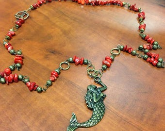 Necklace, Bronze Mermaid, Red Bamboo Coral, Bronze Accents