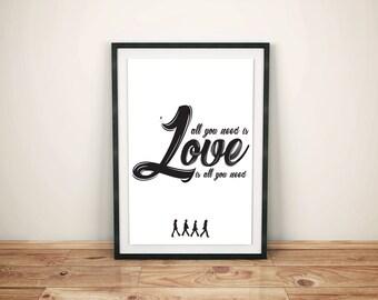 Beatles Song lyrics, Love Wall Print, song lyric wall art, the beatles, all you need is love Lyrics, Lyric Print digital, pillow print,